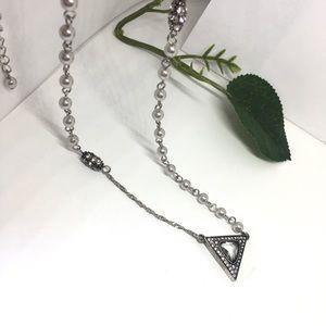 Banana republic crystal pearl long necklace